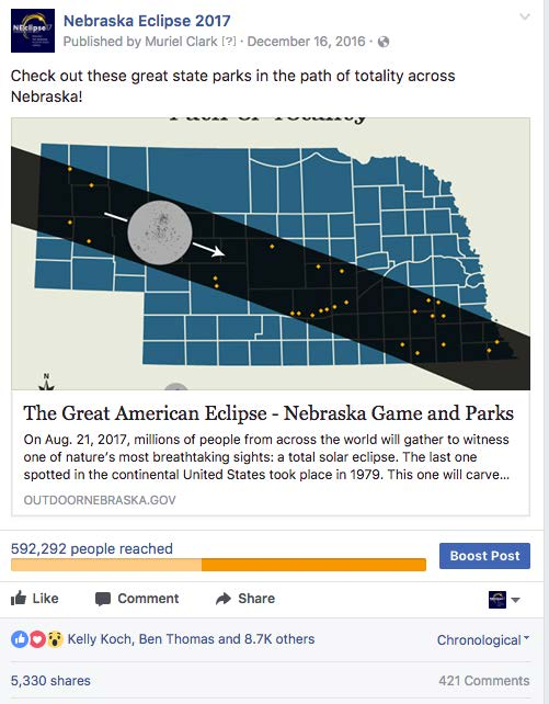 2017 Nebraska Eclipse facebook post