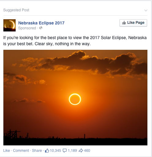 2017 Nebraska Eclipse facebook ad