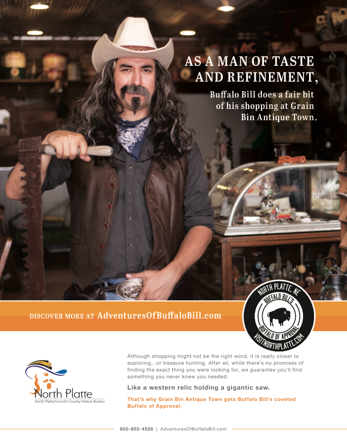 Buffalo Bill Antiques Ad - Visit North Platte