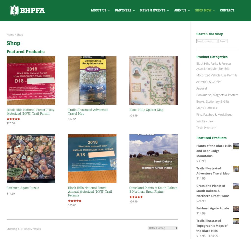 BHPFA Ecommerce Page